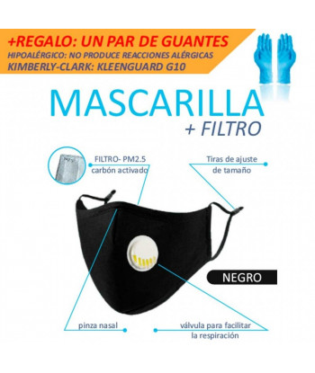 MASCARILLA CON VALVULA Y...