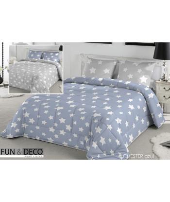 Edredón Conforter Reversible FUNDECO Chester azul